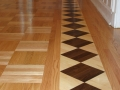 Hand-cut Red Oak Parquet with Maple and American Walnut Border
