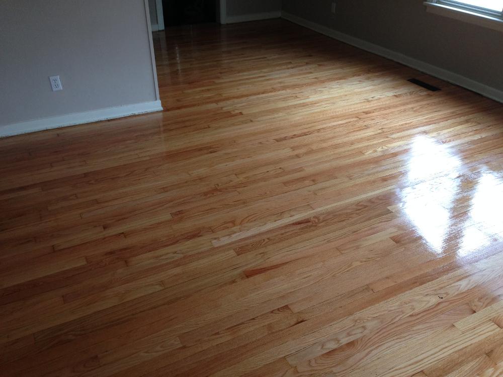 Red Oak floor still wet with final coat of varnish.