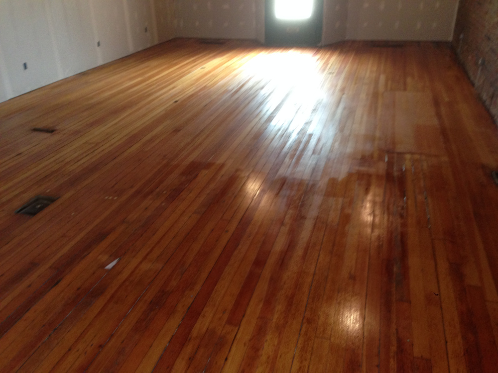 100 year old Douglas Fir, wet with first coat of varnish.