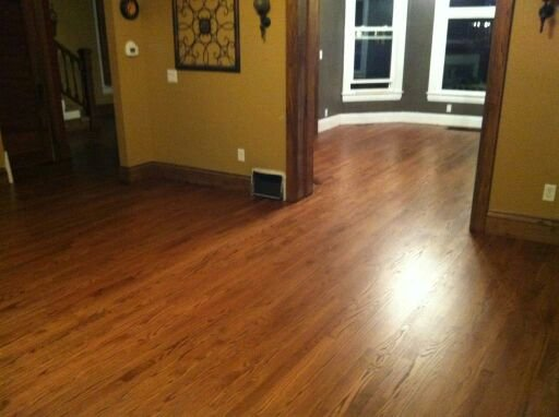 Finished Red Oak floor with satin varnish.